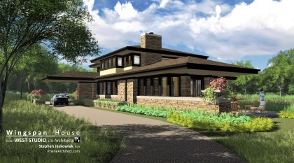 Prairie Style, Frank Lloyd Wright Inspired, West Studio Architects, Stephen Jaskowiak, Organic