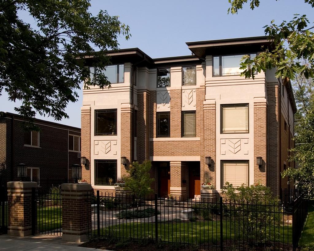 106 108 myrtle avenue townhomes prairiearchitect prairie style elmhurst townhouse frank lloyd wright inspired