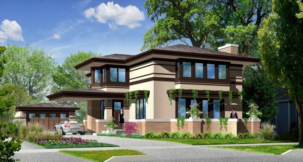 Prairie Style Home, Frank Lloyd Wright Inspired, West Studio, Elmhurst Builder