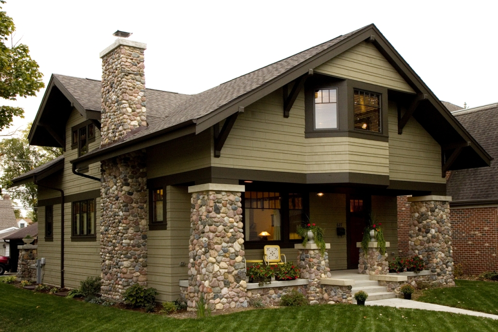 New craftsman bungalow front exterior prairiearchitect for Stile bungalow americano