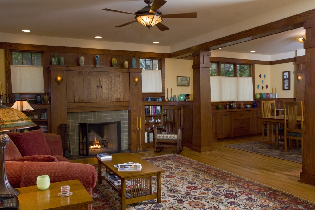 New Craftsman Bungalow Living Room Prairie Architect