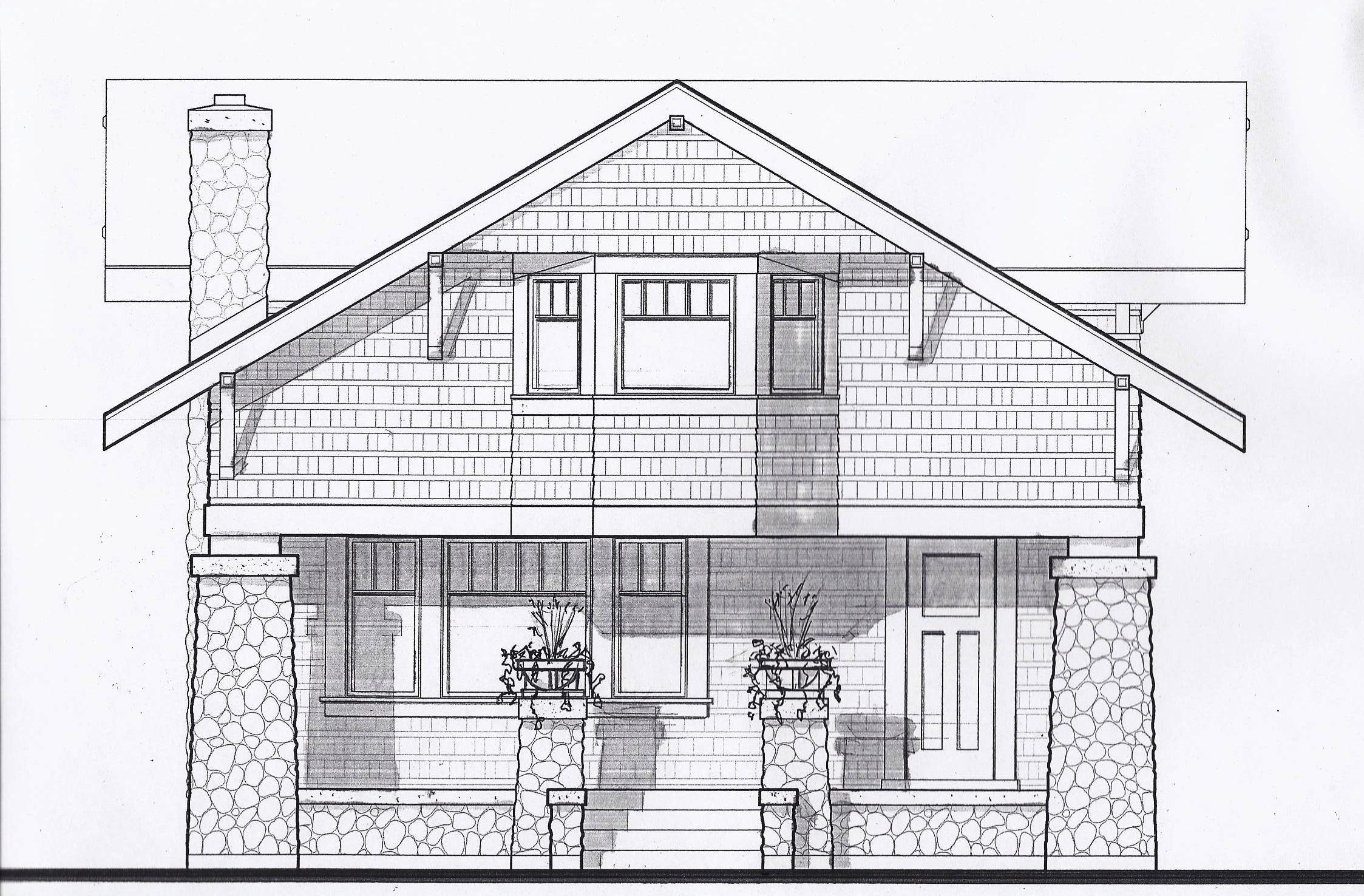 Front elevation rendered prairiearchitect for Bungalow plans and elevations