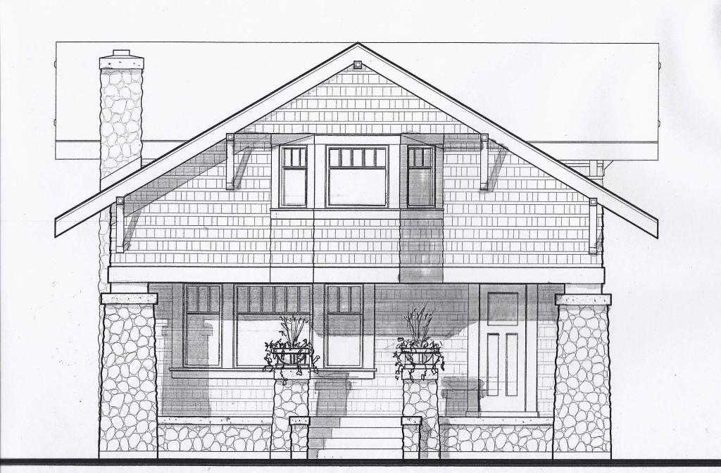 Front Elevation Of A Bungalow : Front elevation rendered prairiearchitect