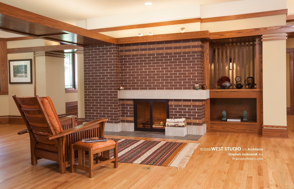 Harmonic winds house fireplace b prairiearchitect for Prairie style fireplace