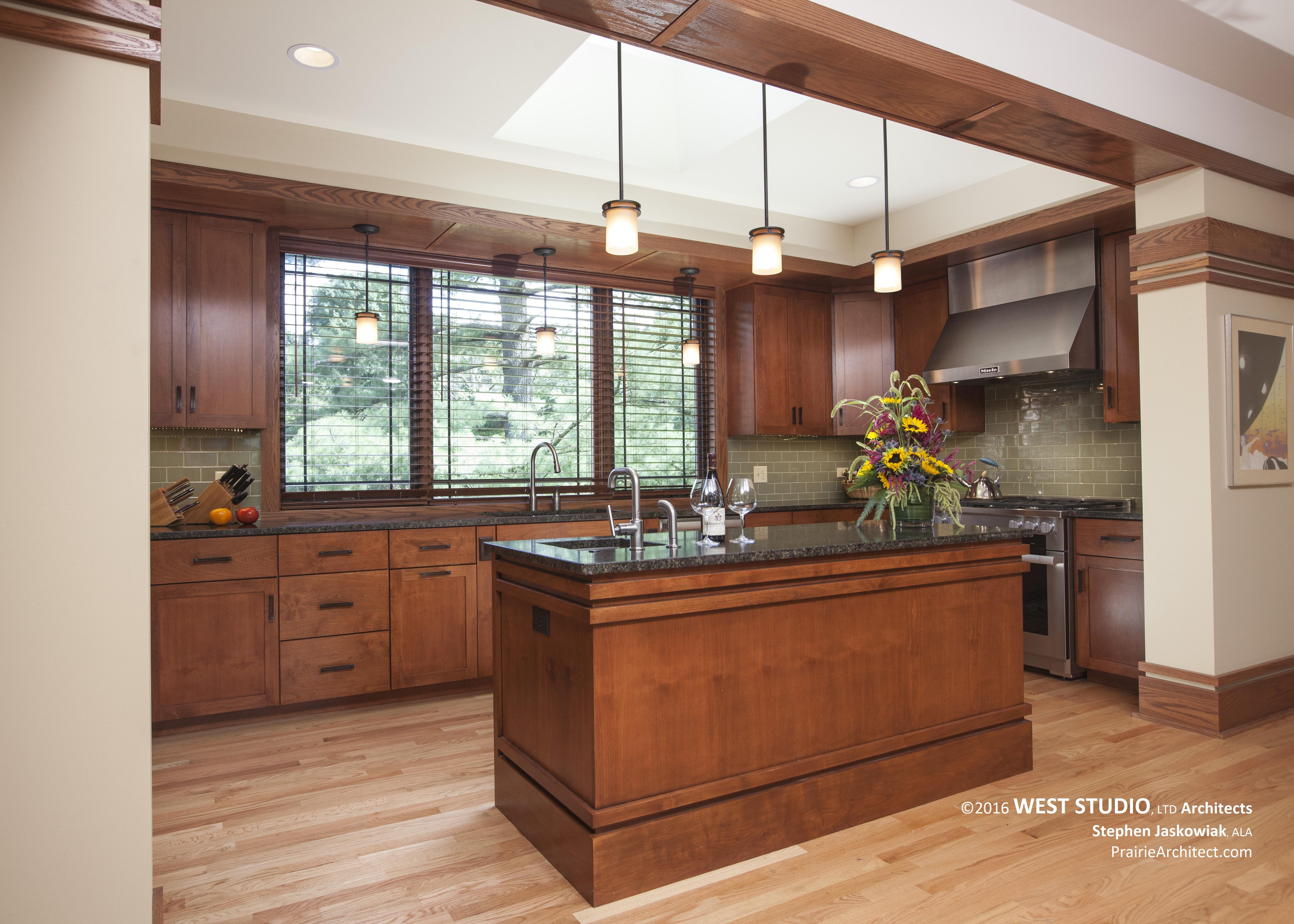 Harmonic Winds House Kitchen. Prairie Style Kitchen, West Studio  Architects, Frank Lloyd Wright Inspired
