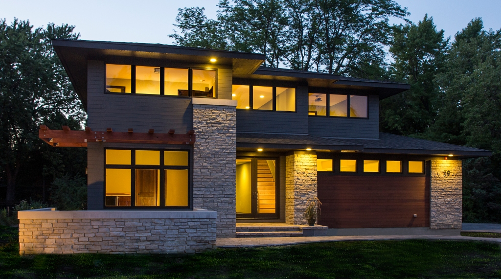 Oak brook residence prairiearchitect for Contemporary prairie style homes