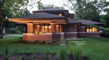 Modern Prairie Style, Frank Lloyd Wright Inspired, West Studio, Stephen Jaskowiak, Prairie-style House