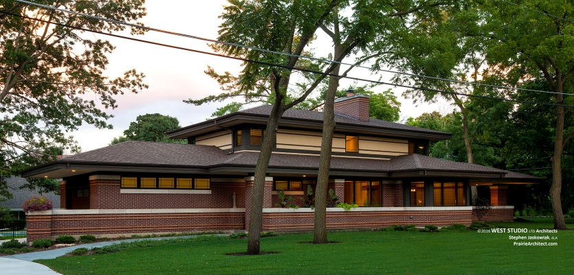 Modern Prairie Style Home, Frank Lloyd Wright Inspired, West Studio Architects & Construction Services