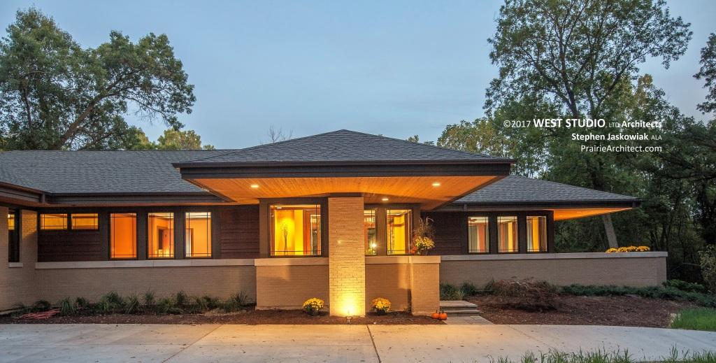 Modern Prairie Style, Frank Lloyd Wright inspired, West Studio Architects