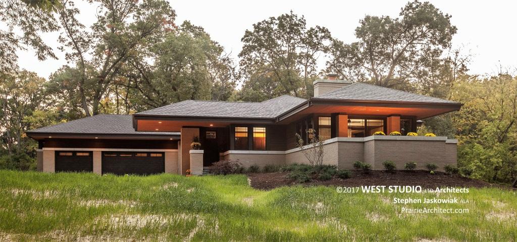 Modern Prairie Home, Frank Lloyd Wright inspired, West Studio Architects, Stephen Jaskowiak
