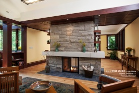 Modern Prairie Style Fireplace, Frank Lloyd Wright Inspired, West Studio Architects