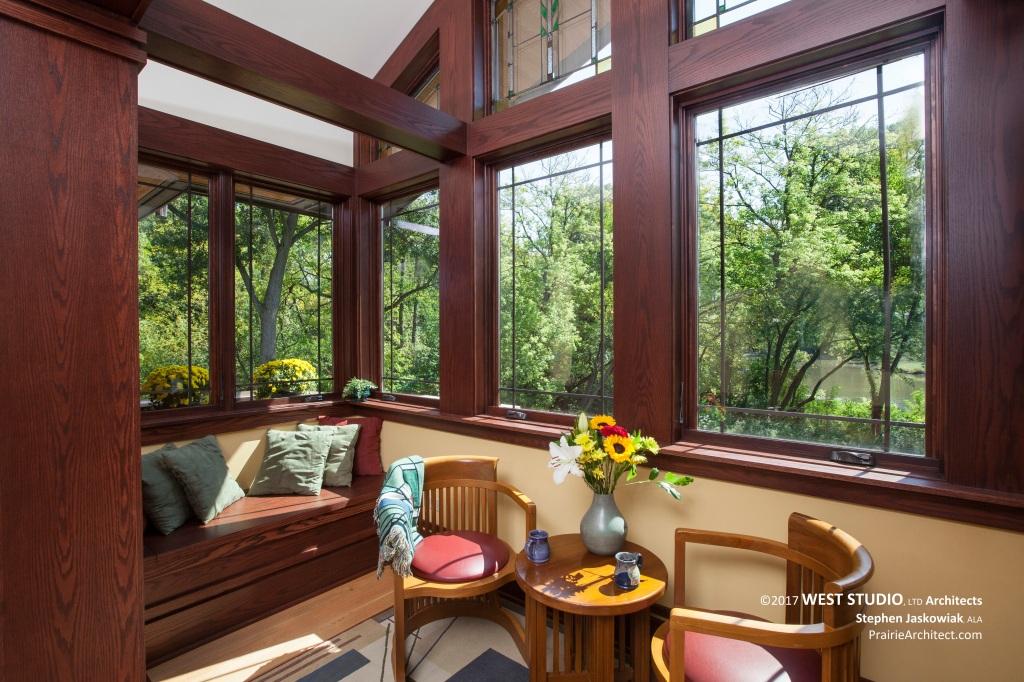 Prairie Style, Frank Lloyd Wright Inspired, Window Seat, West Studio Architects